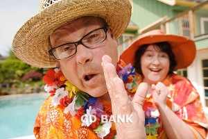 Couple in festive outfits Stock Photo
