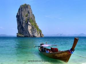 Long tail boat in a Thailand island