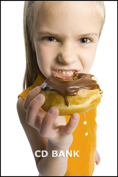 girl eating a donut