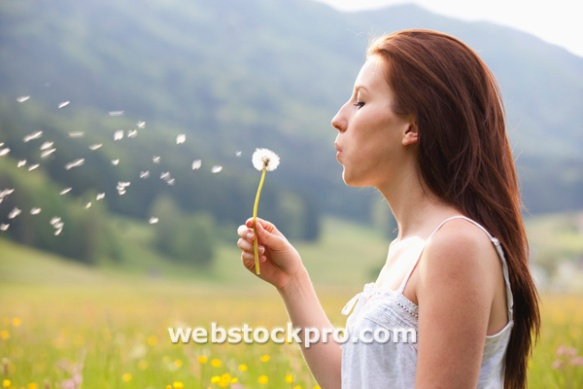 Austria, Young woman blowing dandelion in field of flowers